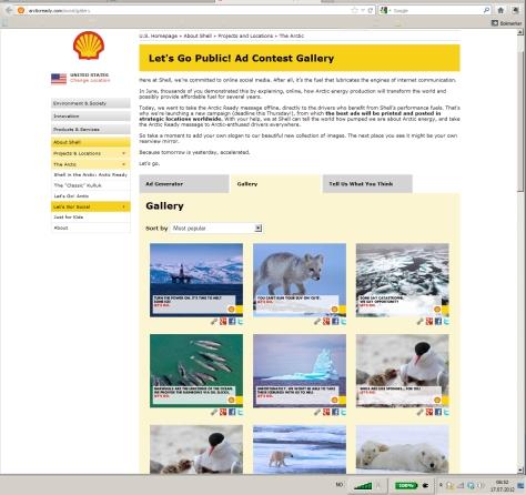 Skjermdump av Shells hjemmeside 17.07.2012 08:57